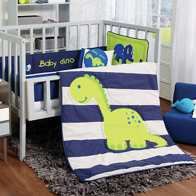 NEW Blue Green Baby Dino Dinosaur Boy Crib Bedding Nursery Set 6PC