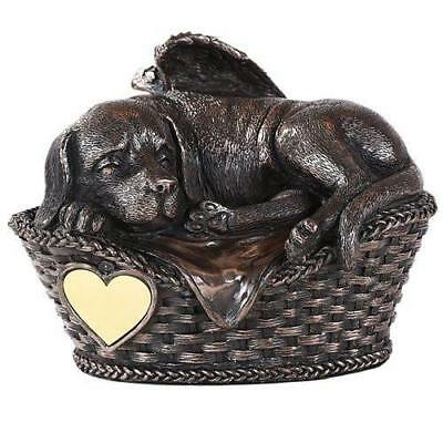 Pet Memorial Angel Dog Sleeping In Basket Cremation Urn Bronze Finish Bottom Loa