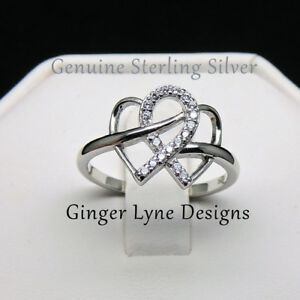 925 SS Infinity ring with non tarnish platinum plating 100% NEW