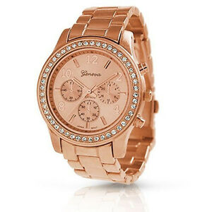 New-Geneva-Rose-Gold-Plated-Classic-Round-CZ-Ladies-Boyfriend-Watch