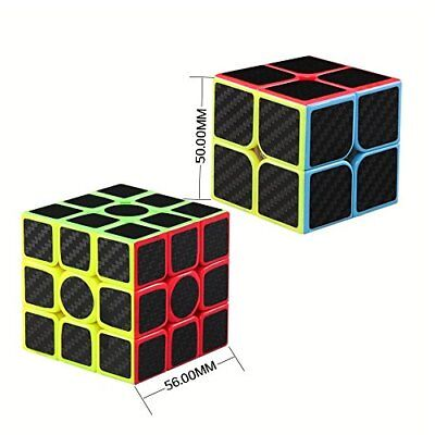 2pcs Speed Cube 2x2 3x3 Carbon Fiber Sticker Brain Training Rubiks Puzzle Cube