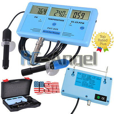 6in1 Water Quality Tester Meter Aquarium PH PPM EC CF TDS(PPM)  US T5B2