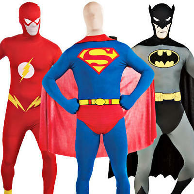 Cheap Mens Superhero Costumes (Superhero 2nd Skin Mens Fancy Dress Batman Superman Flash Bodysuit)