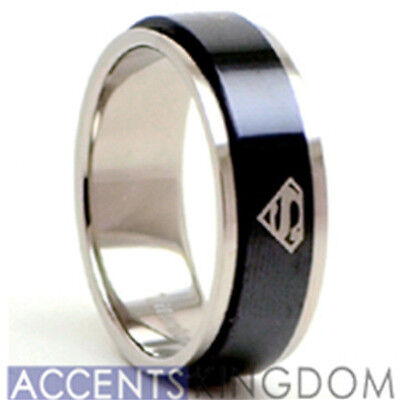 8mm Men's Titanium Superman Spinner Ring Band