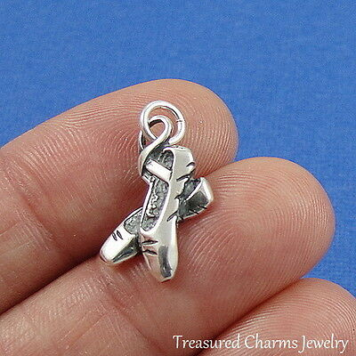 Sterling 925 Charm Pendant - 925 Sterling Silver Ballet Slippers Charm - Ballerina Dancer Ballet Shoe Pendant