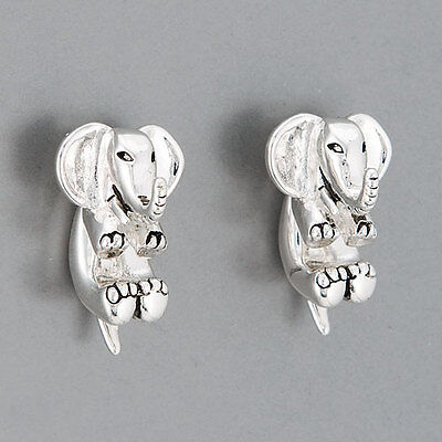 Silver Elephant Front Back Design Statement (Elephant Design Earrings)