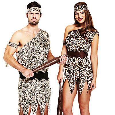 Caveman Tarzan Adults Fancy Dress Halloween Jungle Mens Ladies Costume Outfit (Mens Caveman Kostüm)