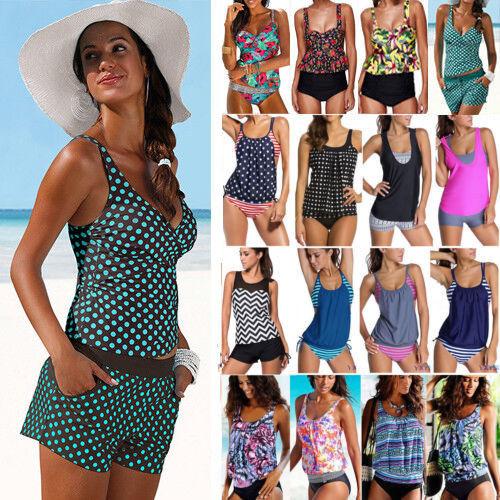 Damen Badeanzug Bademode Tankini Bikini Set Push Up Schewimmanzug Strand 34-48