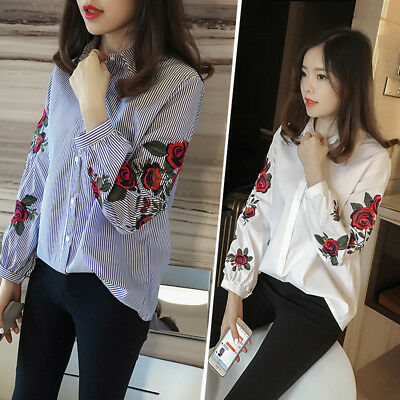 Korean Fashion Women Long Sleeve Flower Embroidery Blouse Top Casual Lapel Shirt