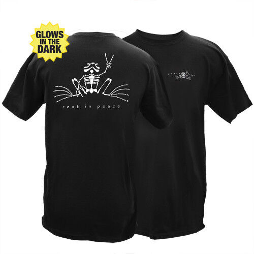 PEACE FROGS REST IN PEACE RIP ADULT SMALL T-SHIRT GLOWS IN DARK