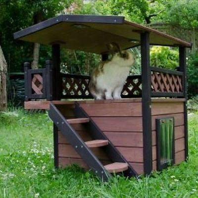 Outdoor Cat Shelter House Luxury Stairs Garden Patio Waterproof Kennel Wooden