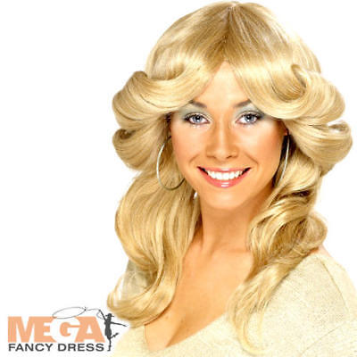 Charlie's Angels Costumes (Blonde Flick Wig Disco Diva Fancy Dress Charlies Angels 1970s Costume)
