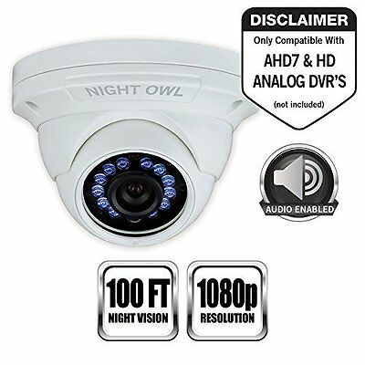 Night Owl Security Dome Camera, w/1080p HD, Sound Enabled - 1 Pack Add-On -White