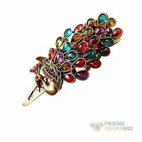 Colorful Retro Vintage Jewelry Crystal Peacock HairPin Hair Clip