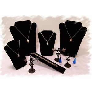 1 Black Velvet 8 Piece Jewelry Display Stand Set Necklace, Earring, Bracelet