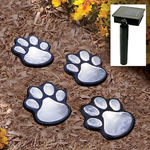 Brand New Outdoor LED Solar Powered Paw Print Lights Set Of 4