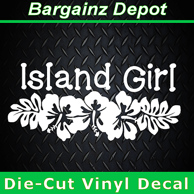 Vinyl Decal.. ISLAND GIRL.. Tropical Beach Hibiscus Car Lapt