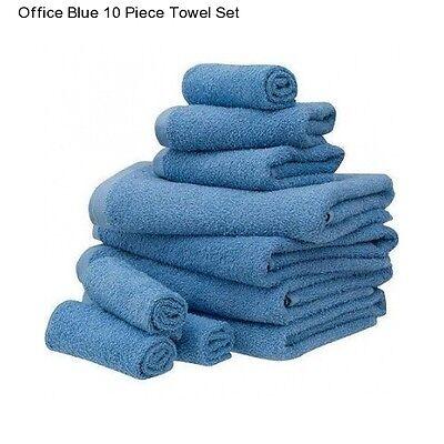 New Blue Cotton 10 Piece Bath Towel Set Washcloth Bathing Bathroom Hand Towels