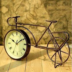 Retro Vintage Style Metal Bike Bicycle Clock Home Decor Table Clock Ornament