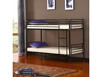 """""""RRP£270"""" VERY STRONG METAL BUNK BED - NOW AVAILABLE IN 3 COLORS (BLACK/WHITE/SILVER) Opt Mattress"""