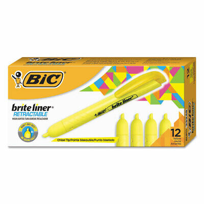 Retractable Highlighter Chisel Point Yellow Bicblr11yw