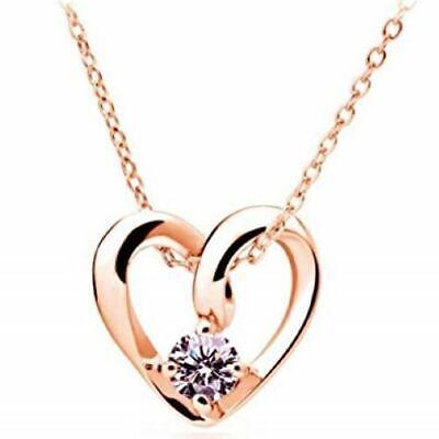 Womens 9K Rose Gold Filled & AAA CZ & Love Heart Shape Necklace & Pendant (9k Rose Gold Pendant)