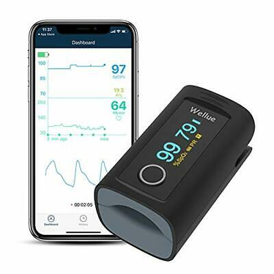Wellue Fingertip Blood Oxygen Saturation Monitor With Alarm Batteries Carry B...