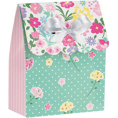 FLORAL TEA PARTY FAVOR BOXES (6) ~ Birthday Supplies Decorations Paper Treat  - Floral Paper Party Supplies