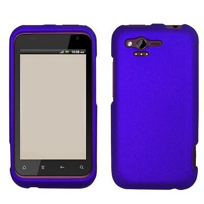 Rubberized Blue Snap - Rubberized Blue HARD Protector Case Snap on Phone Cover for Verizon HTC Rhyme