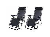 Set of 2 reclining garden chairs