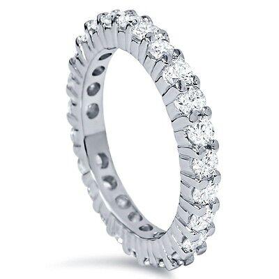 1.50 cttw Round Diamond Eternity Band 14 Karat White Gold Stackable Wedding Ring