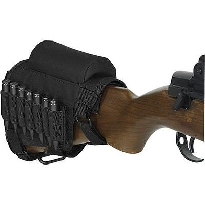Rifle Ammo Holder Butt Cheek Piece Rest Pad Buttstock Hunting Shooting Black