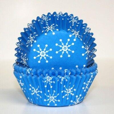 Frozen Cupcake Liner (Blue Snowflake Baking Cup PME Cupcake Liner Paper 60 COUNT Winter Frozen Snow )