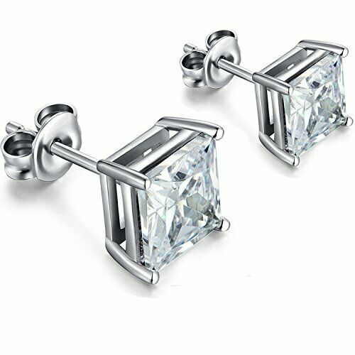 Princess Cut Diamond 925 Sterling Silver Women's Stud Earrin