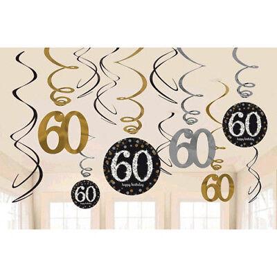 SPARKLING CELEBRATION 60th Birthday SWIRL DECORATIONS (12) ~ Party Supplies Foil - 60th Birthday Decor