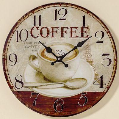 """Wanduhr """"Coffee! - D 34 cm, Glasuhr, Küchenuhr batteriebetrieben 1xAA"""