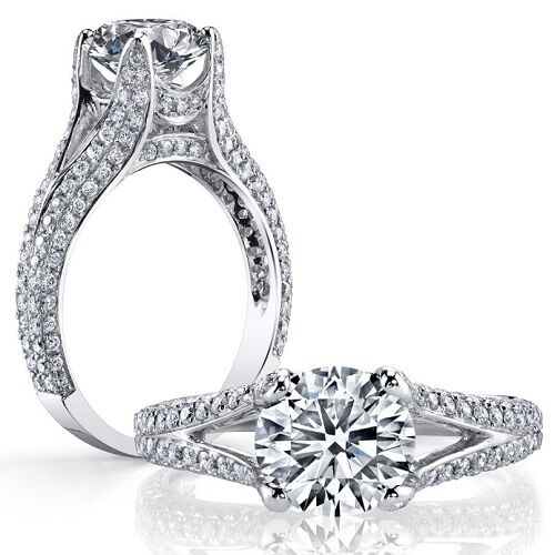 2.99 ct. Round Brilliant Cut Diamond Engagement Ring Micro Pave GIA Certified