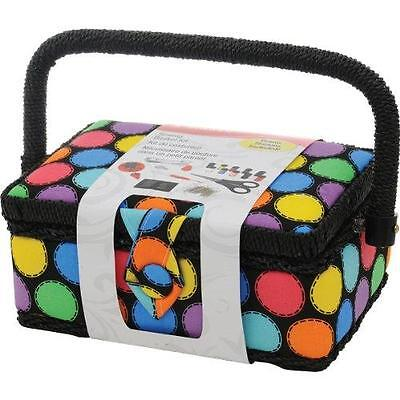 SINGER Polka Dot Small Sewing Basket with Sewing Kit Accessories New