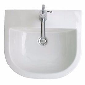 Bathstore Euro Mono Semi Recessed basin one tap hole with click clack plug