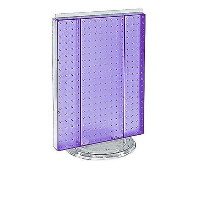 16 W X 20 H Purple Counter Top Rotating Pegboard Tower Display Unit