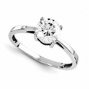 1 Ct Moissanite Round Brilliant Cut Solitaire  Engagement Ring 14k White Gold