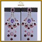 Rhinestone Flowers & Plants Purple Fashion Earrings