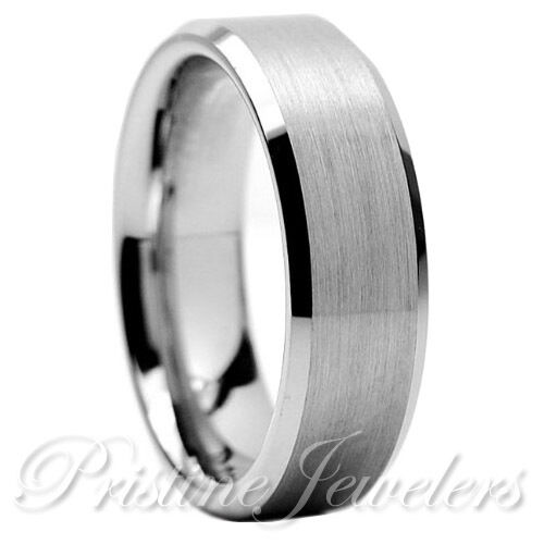 Ring - Tungsten Carbide Wedding Band Ring Brushed Silver Mens Jewelry Size 6-15 + Half