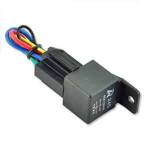 NEW Black 12V 40A SPST Premium Relay & Socket 4Pin 4P 4 Wire For Car Auto