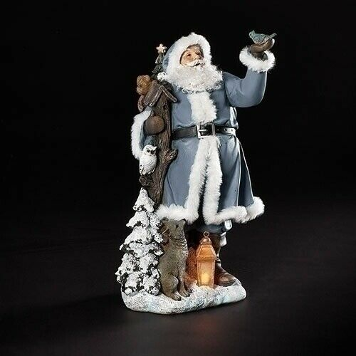 LED Blue Santa & Sleigh with Deer Figurines by Roman Inc. ~ Set of 3 ~