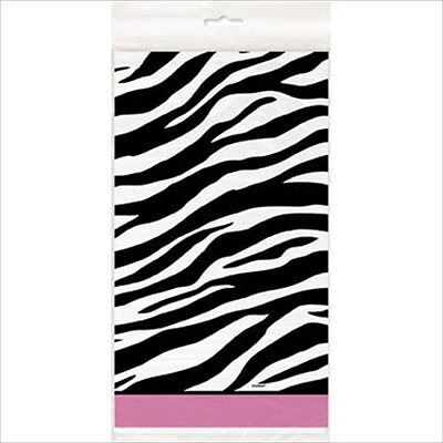 ZEBRA STRIPES Pink and Black PLASTIC TABLE COVER ~ Birthday Party Supplies - Zebra Table Cover