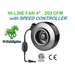 """TTHYDROPONIC: IN-LINE FAN 4"""" 203CFM with SPEED CONTROLLER for sale  Red Deer"""