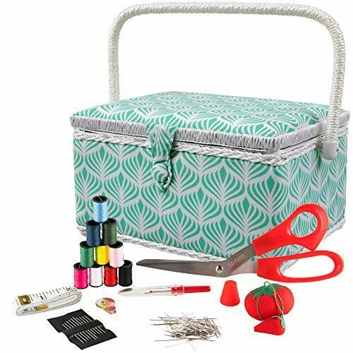 SINGER 07229 Sewing Basket with Sewing Kit, Needles, Thread, Pins, Scissors, and