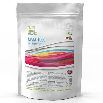 1-4x 120 Tabletten MSM á 1000mg - Vegan Hochdosiert Methylsulfonylmethan Gelenke ()