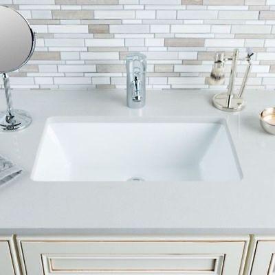 Porcelain Medium Rectangular Bowl Undermount White Bathroom Ceramic Sink (Medium Lavatory Bowl)